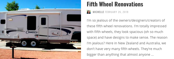 If you love the space and layouts of the fifth wheels, what about buying an older one and renovating it to exactly your tastes?