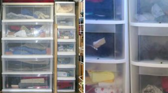 Storage ideas for RV Closets - When you don't have enough space for all your clothes but you still want to look nice while traveling, it's important to organize what space you do have! Add plastic drawers to unused hanging space.