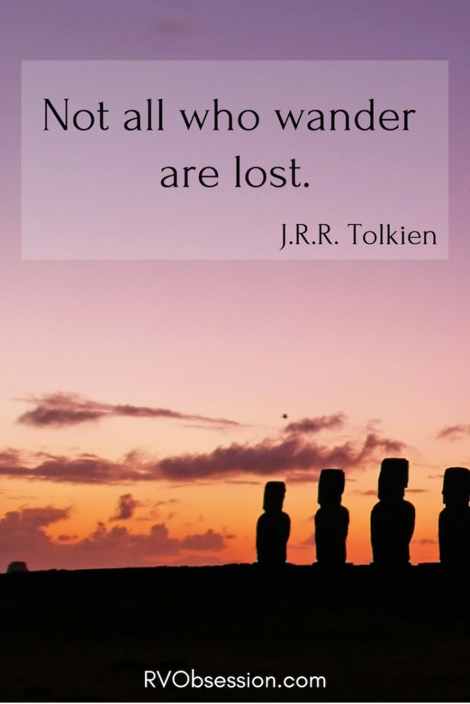 Quote by J.R.R. Tolkien - Not all who wander are lost - on a background of the Easter Island statues at dusk.