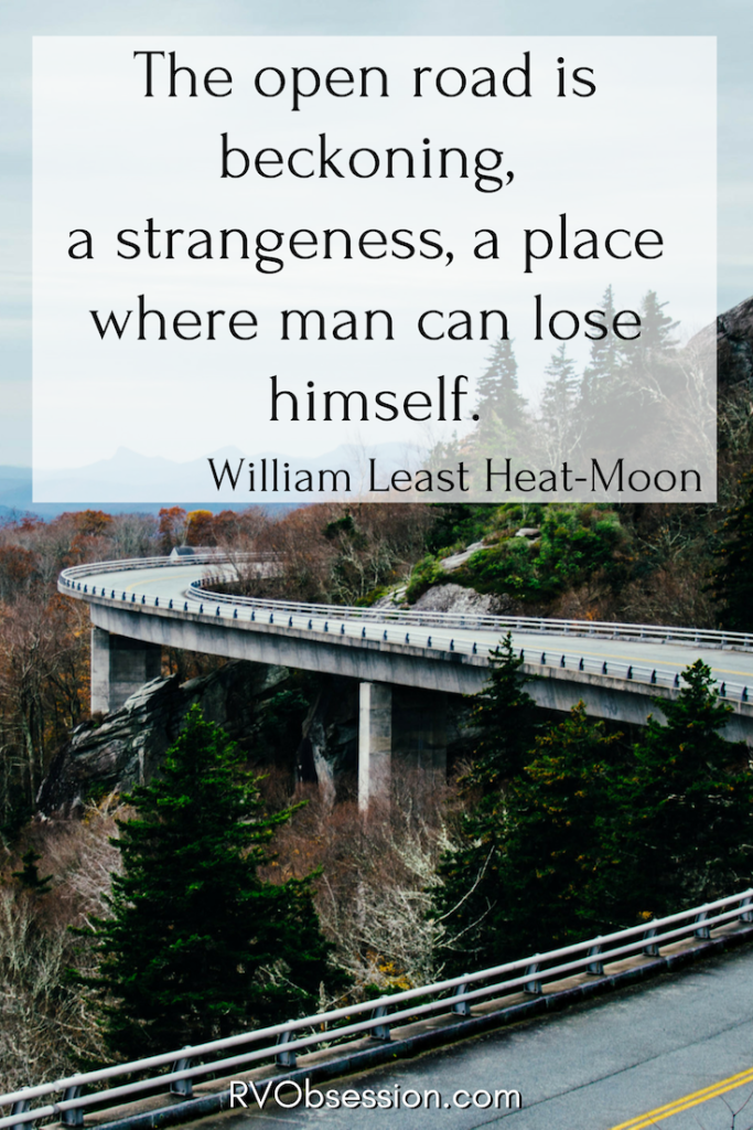 Quote by William Least Heat-Moon - the background is a picture of a winding road