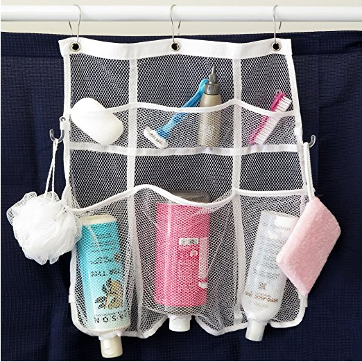 Small Bathroom Storage Ideas - This shower pocket organizer makes for a quick and solution of where to put all your stuff!