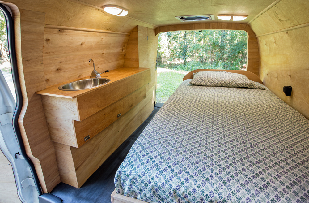 Sprinter Van Conversions - I love the idea of living so small and mobile, but with all the creature comforts of home. Graceful and minimalist, this van conversion looks perfect for a single person, living and even working from the road.