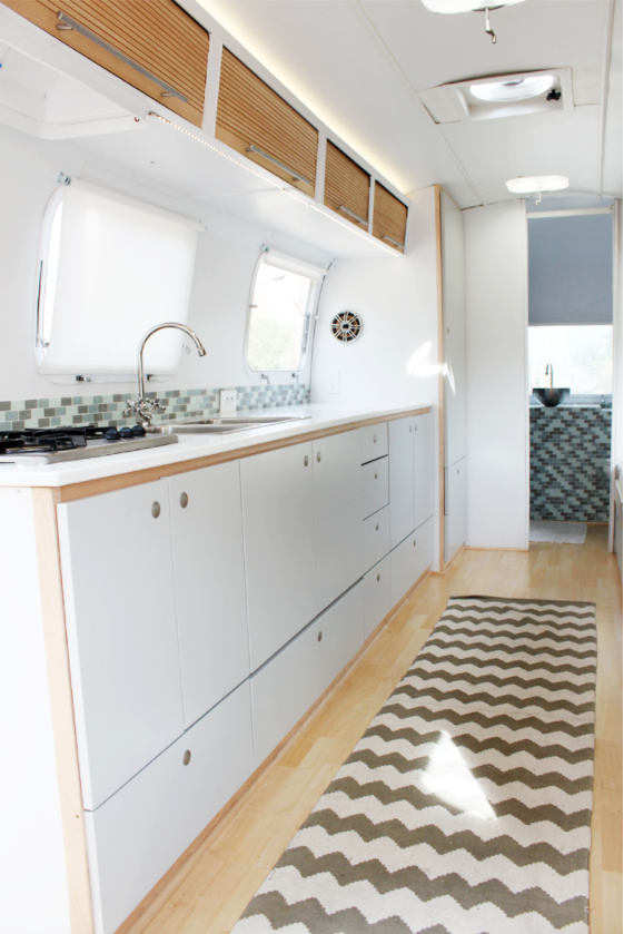 Airstream Renovations - this light and airy airstream was renovated over two years and finished just in time for the honeymoon!