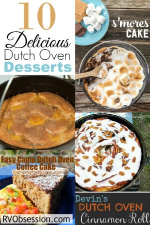 These Dutch Oven Campfire recipes are going to make you drool... and put on loads of weight because they're all delicious desserts! One of the joys of the living in an RV is that you have the opportunity for campfires, and when that happens, a dutch oven is a great tool for whipping up wonderful treats to share with old and new friends.