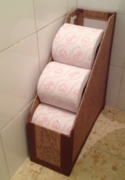 Small Bathroom Storage Ideas - a cardboard upright file holder is a novel (and practical!) toilet paper holder.