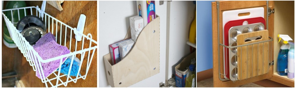 Small Kitchen Storage Ideas   Use The Inside Of Your Cupboards By Hanging  Baskets, Boxes