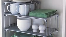 Small Kitchen Storage Ideas - Use small stackable shelves - when you need to utilize all the space you can in your small RV kitchen.