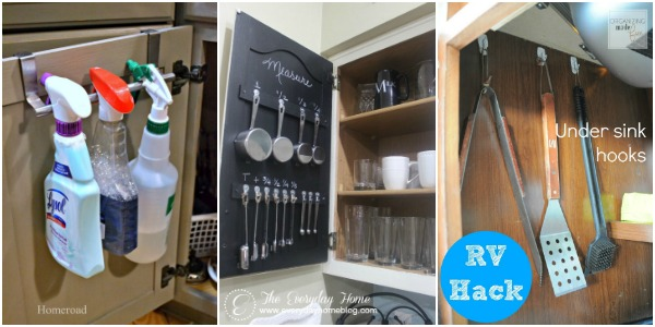 Small Kitchen Storage Ideas - Add hooks (either over cupboard door, fixed or command) and make the most of some of that wasted space.