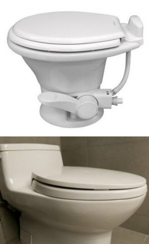 RV Toilets - the conventional RV toilet comes in either plastic or porcelain and is the most similar to a regular toilet.