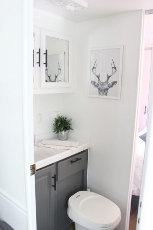 RV Bathroom Renovations - white and bright takes this dingy walkthrough bathroom to a new level