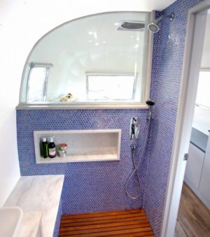RV Bathroom Renovations - you can tell when someone with design flair has been involved in the bathroom renovation... just look at this beauty.