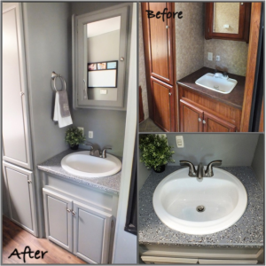 RV Bathroom Renovations - As well as the paint job, putting in a bigger hand basin makes heaps of difference
