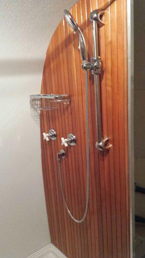 RV Bathroom Renovations - Redwood shower lining