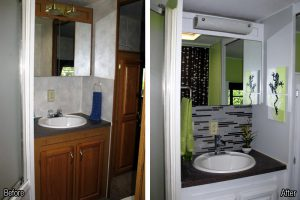 RV Bathroom Renovations - brighten things up with paint and a new splash back.
