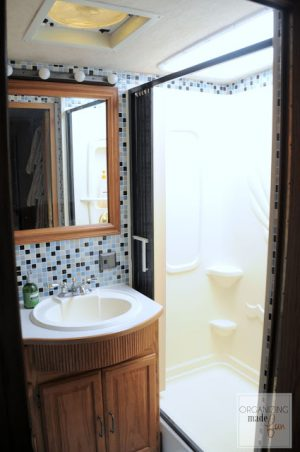 RV Bathroom Renovations - getting rid of all the brass in this bathroom brought it into the current decade!
