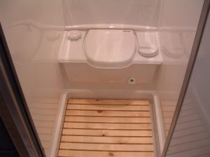 Small RV Trailers Bathroom   Removable Shower Deck