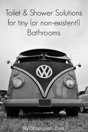 Small RV / Trailers Bathroom Ideas - when you've only got a small space to live in, your only going to have a tiny space for a shower & toilet (if you have any space at all!) so you need to plan for the best way to utilize any available space.