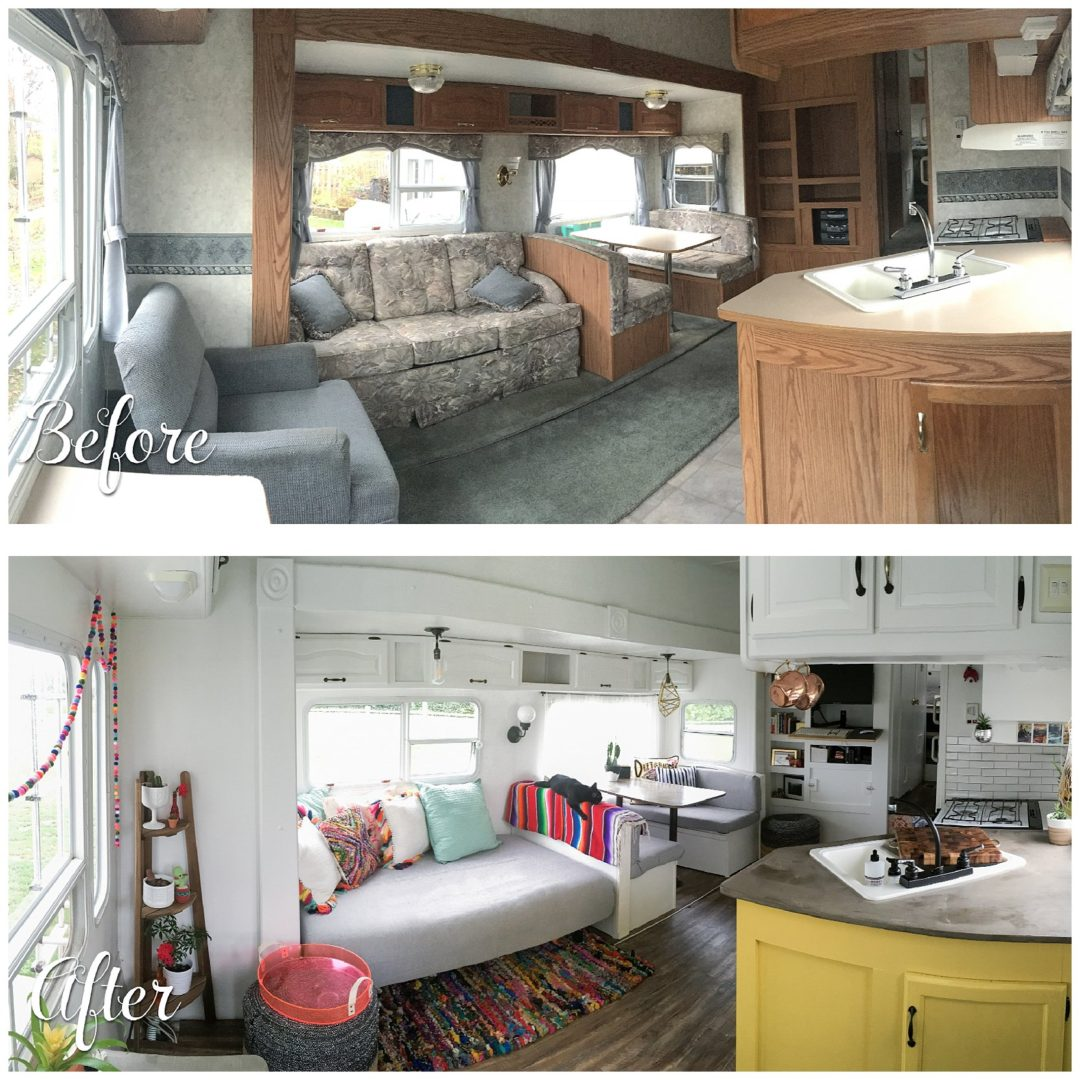 RVObsession - Fifth Wheel Renovations - Kevin and Mandy from 188sqft.com took a 'tired' fifth wheel and transformed it into a modern, yet comfortable and cozy retreat for themselves and their family for four furry kids.