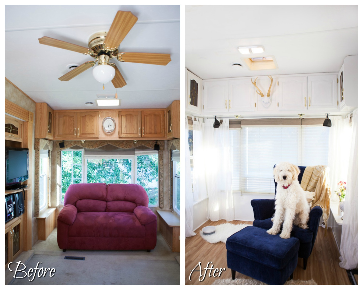 RVObsession - Fifth Wheel Renovations - Chelsea and Ryan have built a delightful home from this fifth wheel camper with somewhat tired decor.