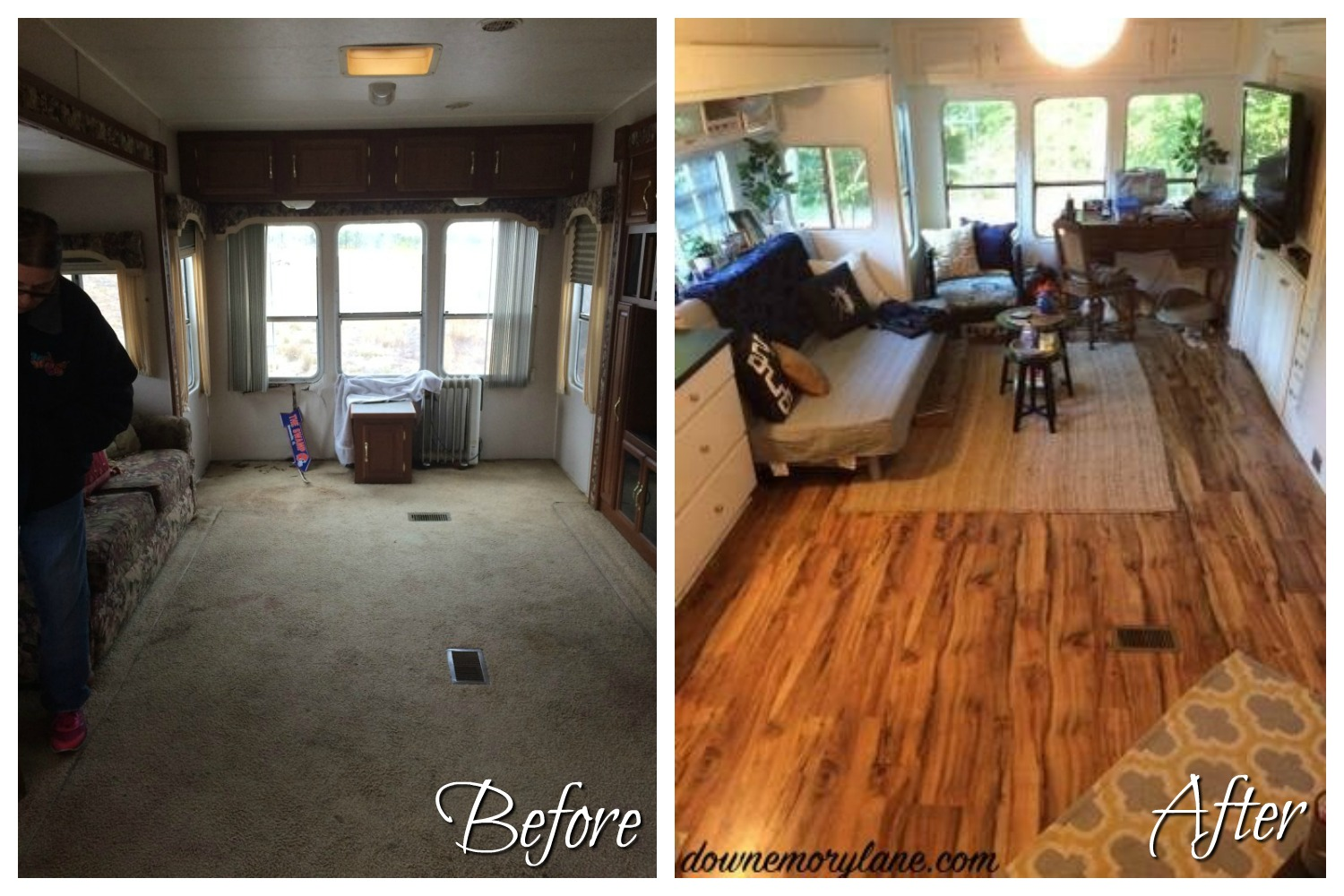 RVObsession - Fifth Wheel Renovations - Lina and her husband have transformed this tired fifth wheel camper into their new temporary home (while they build the dream home).