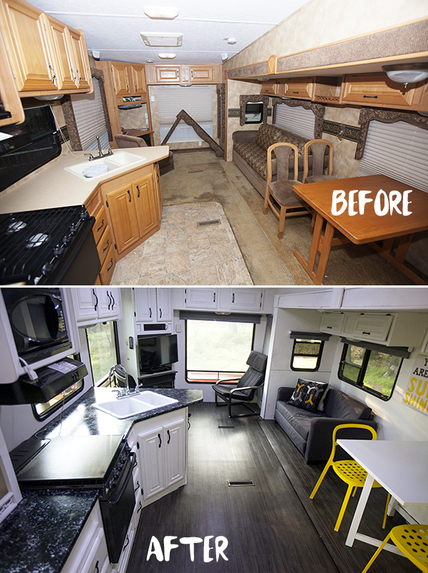 RVObsession - Fifth Wheel Renovations - this amazing renovation by fiddystates.com look totally impressive, but when you realise it was all done in three weeks then you're left just scratching your head at how it was done!