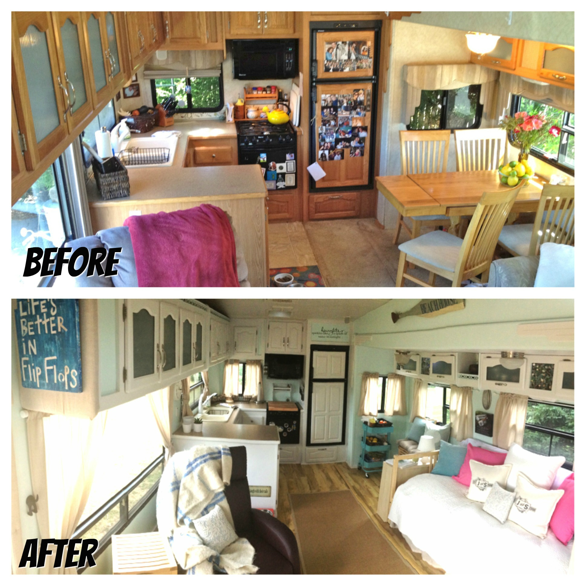 RVObsession - Fifth Wheel Renovations - See how Stephanie and Jim have turned this fifth wheel camper into their haven home.