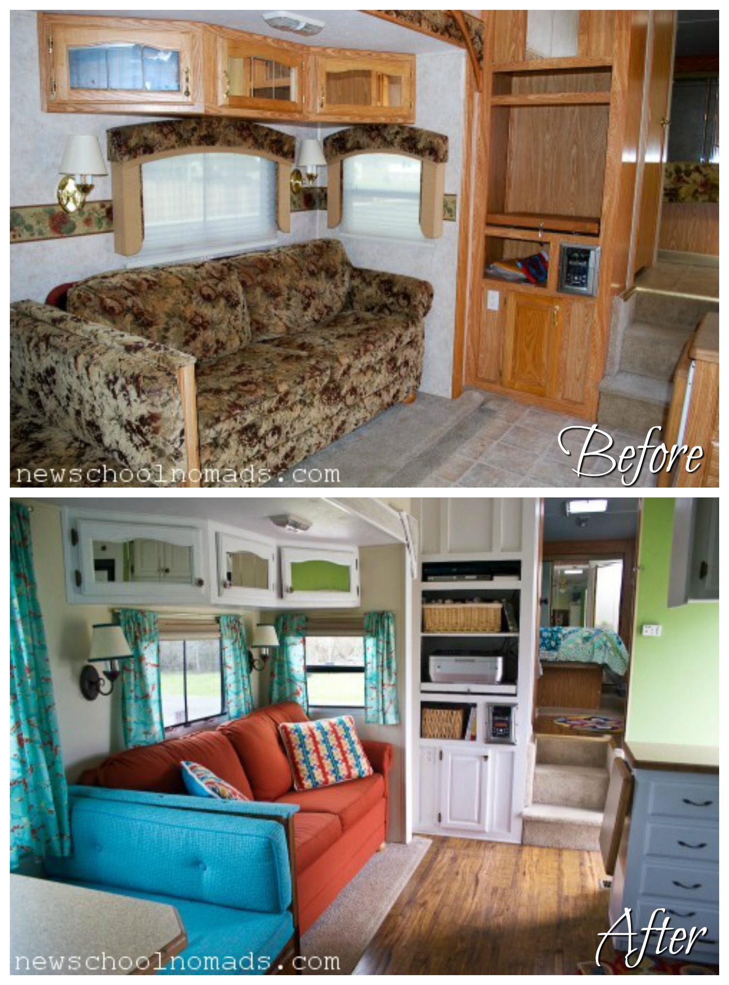 RVObsession - Fifth Wheel Renovations - Jenn and Brent from New School Nomads transformed their fifth wheel camper from dreary and brown to bright and cheerful.