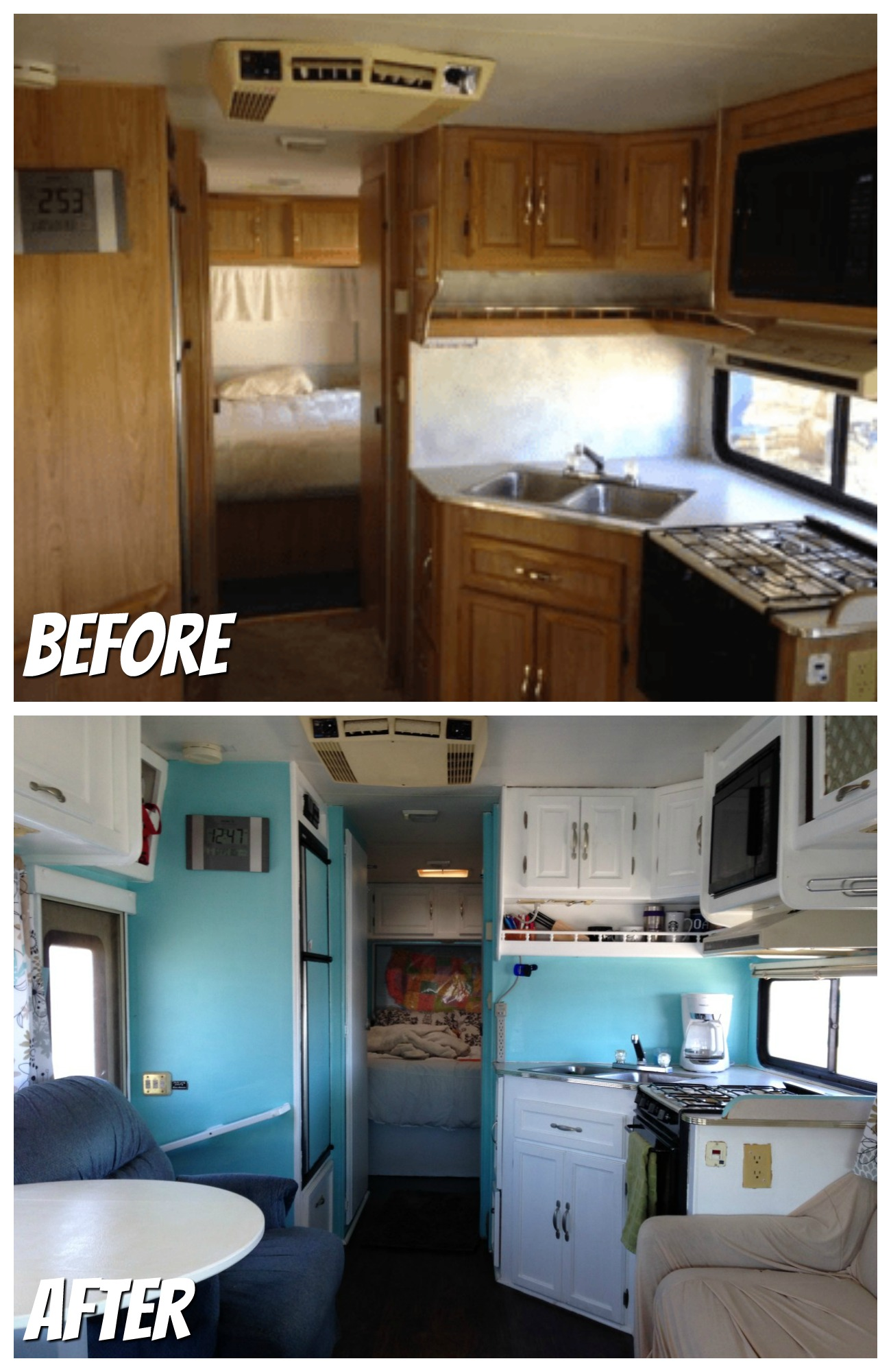 RVObsession.com - RV Renovations | Motorhome Renovations - Heath and Alyssa's first RV was a 1994 Class C Motorhome that they named Franklin. Prior to setting out on a 50 state tour for their honeymoon, they gave Franklin a bit of a facelift.