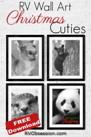 Pinterest pin graphic - 4 prints of different animal faces with a Merry Christmas greeting.