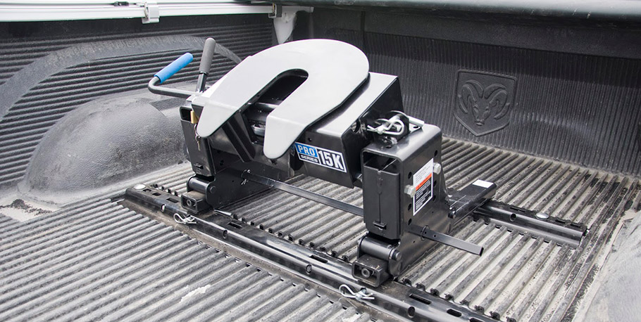 fifth wheel hitch shown in the bed of a truck
