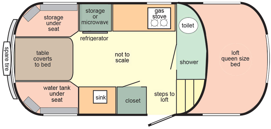 Scamp 19ft Fifth Wheel layout