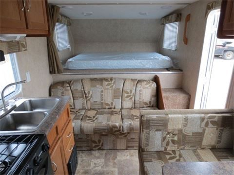 Interior of the bed end in the Allen Camper fifth wheel