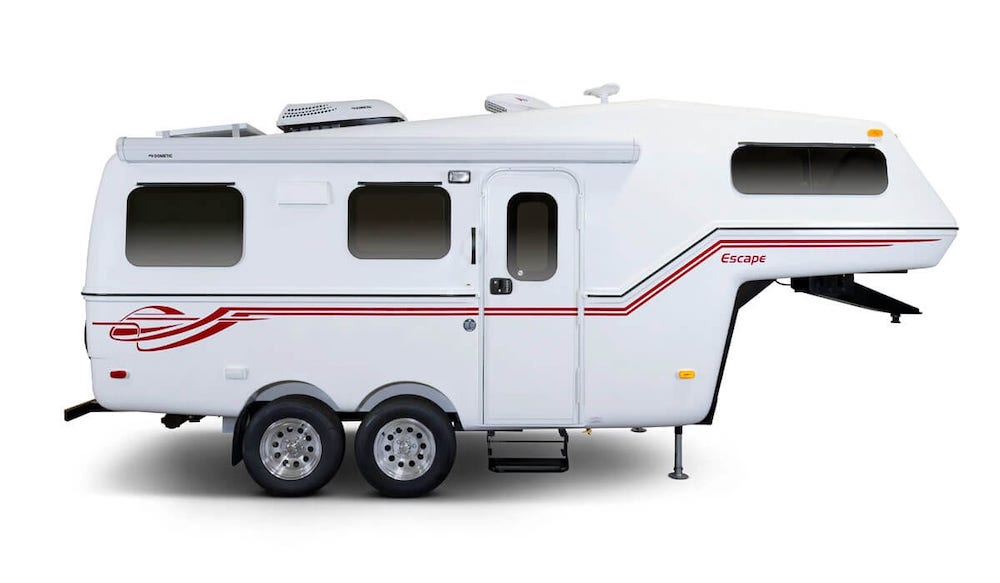 Side view of small Escape 5.0 fifth wheel camper