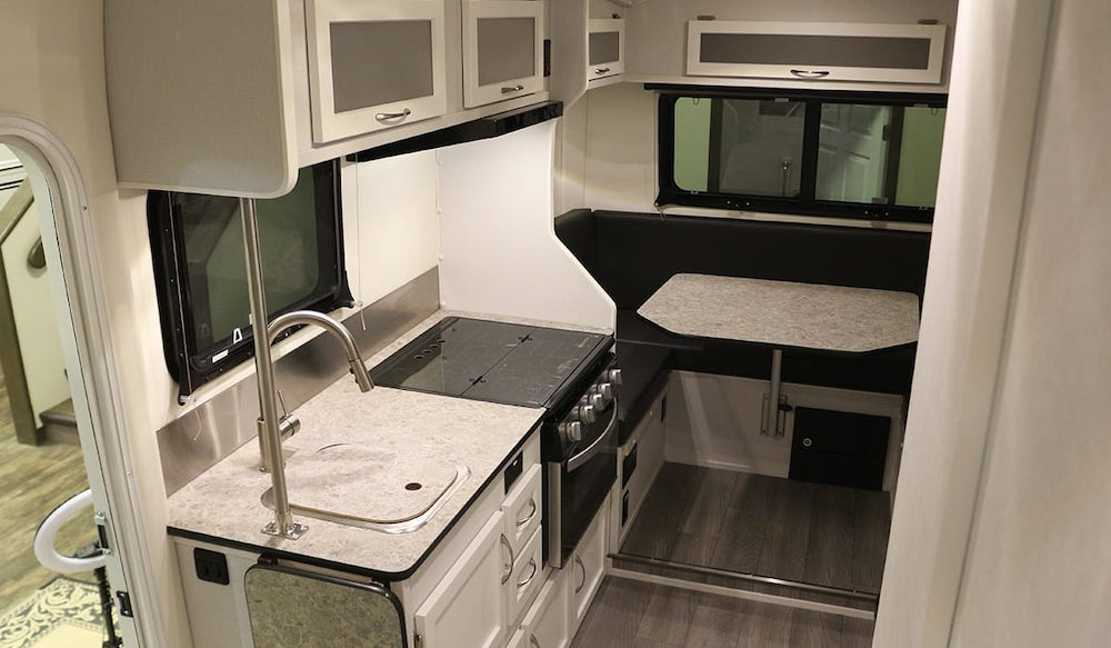 Interior of Escape 5.0 fifth wheel camper showing the dining end