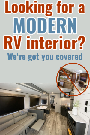 Modern RV interior with text overlay: Looking for a modern RV interior?