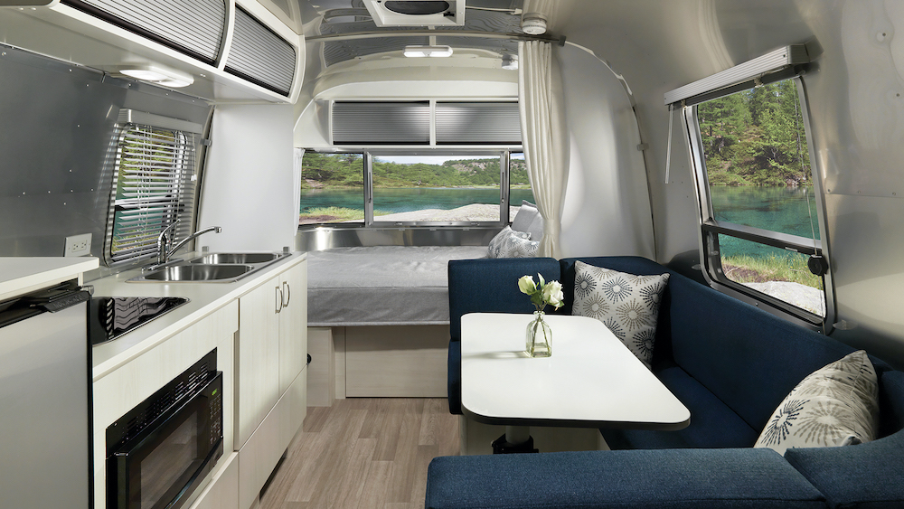 Interior view of an Airstream Bambi with modern interior