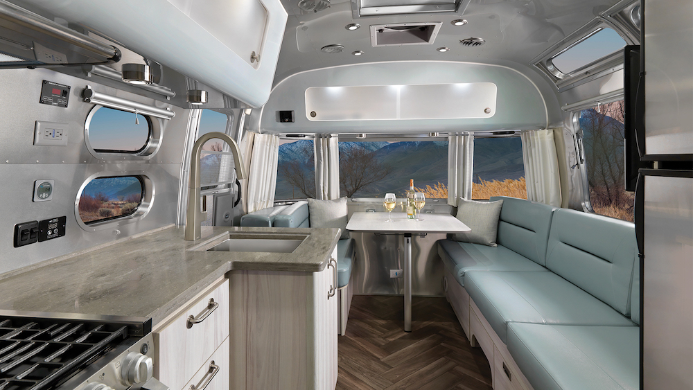 Dinetter area of a modern Airstream travel trailer