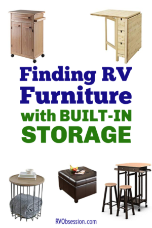 A Pinterest pin with the title 'Finding RV Furniture with Built-In Storage' and pictures of furniture that can be used in an RV.