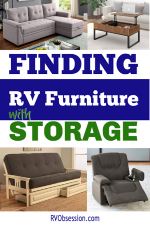 A Pinterest pin with the caption: Finding RV Furniture with Storage. And pictures of RV furniture.