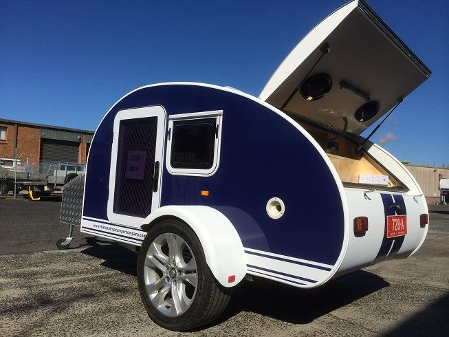 Dark blue teardrop camper