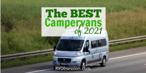 Grey camper van driving on a road, with text overlay: The best campervans of 2021