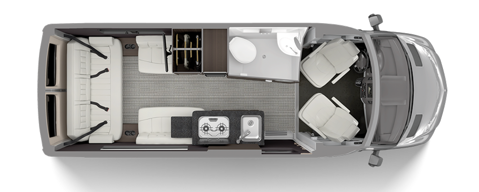 Floorplan of the Airstream Interstate 19 campervan