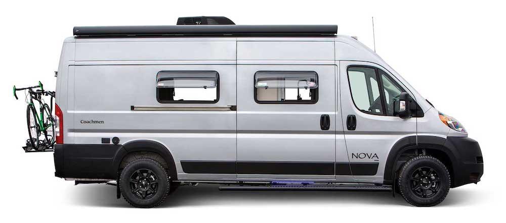 Side view of white camper van