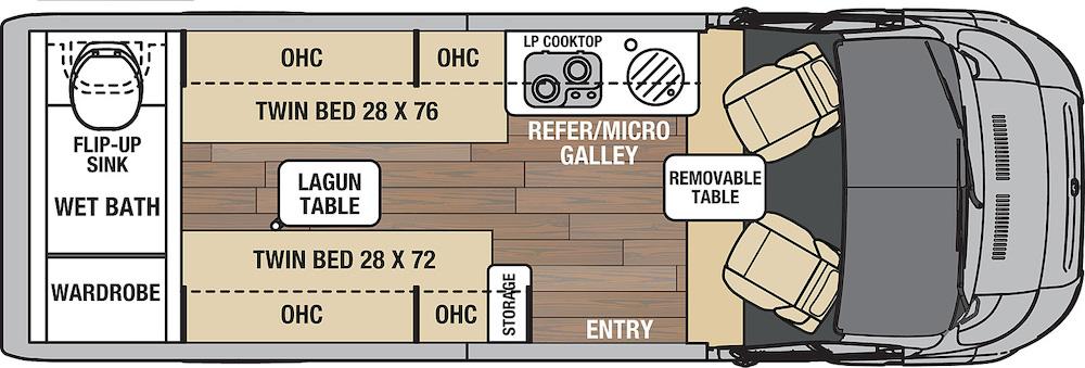 Floorplan diagram of the Coachmen RV Nova camper van