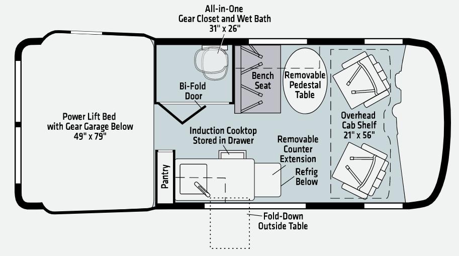 Floor plan of the Winnebago Revel campervan