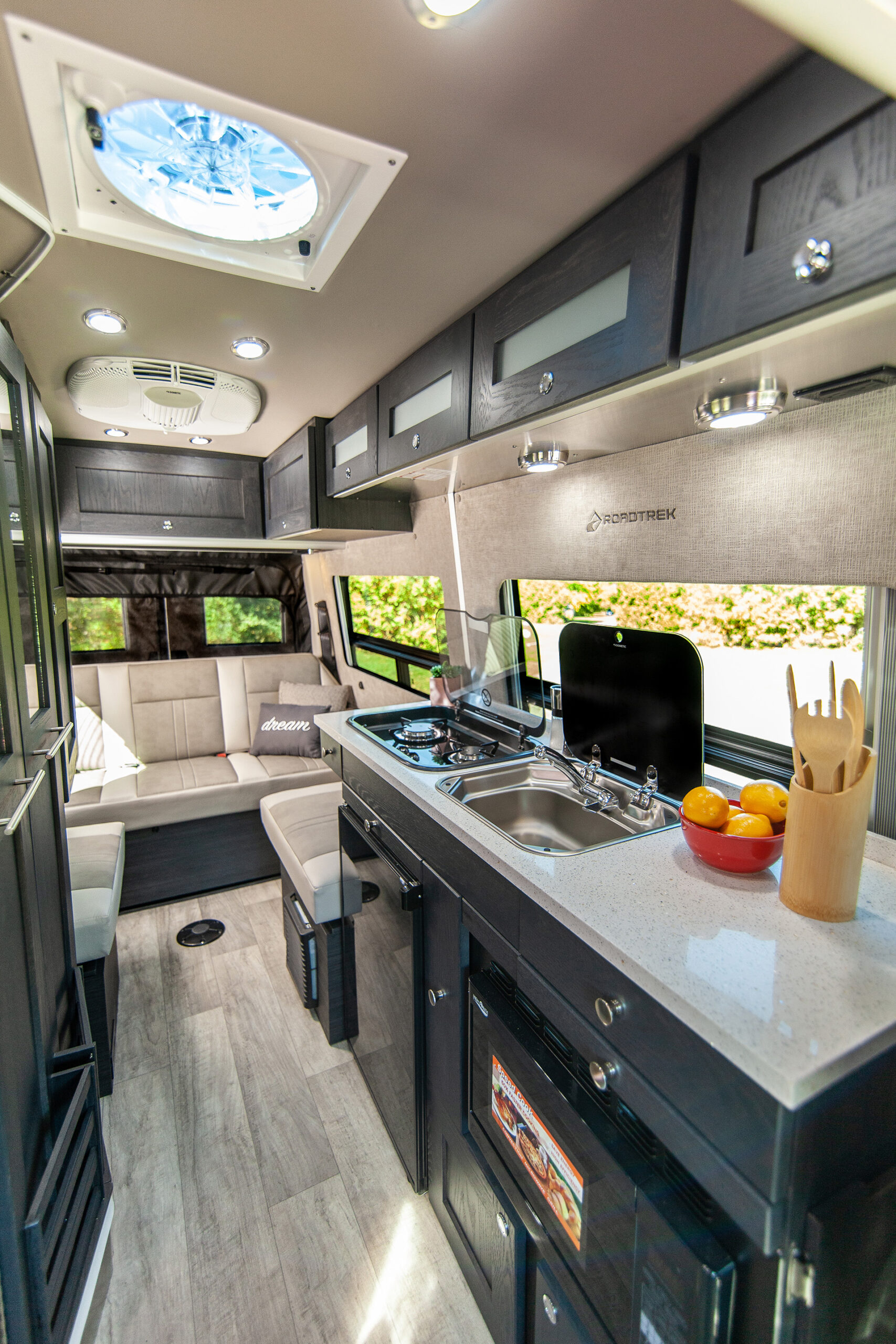 Interior of the SS Agile, a small RV / camper van looking towards the