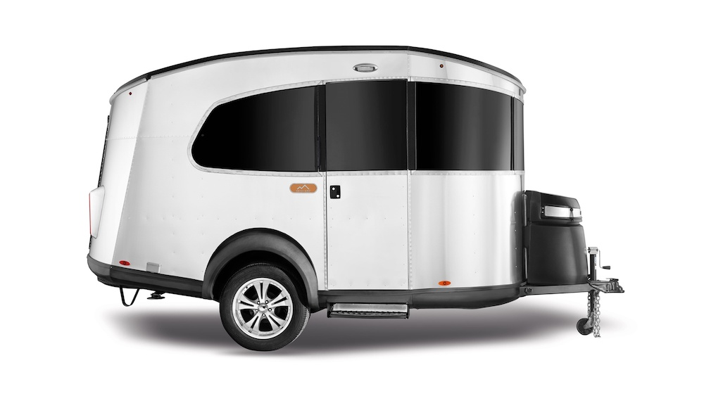 Side view of Airstream Basecamp lightweight travel trailer.