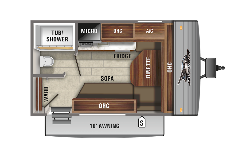 Floor plan of small, lightweight Jay Flight SLX 7 travel trailer.