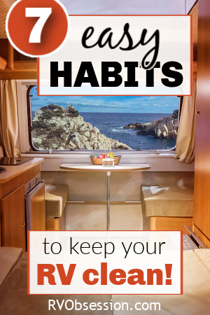 Dinette inside an RV showing a coastal view out the window, with text overlay: 7 easy habits to keep your RV clean.