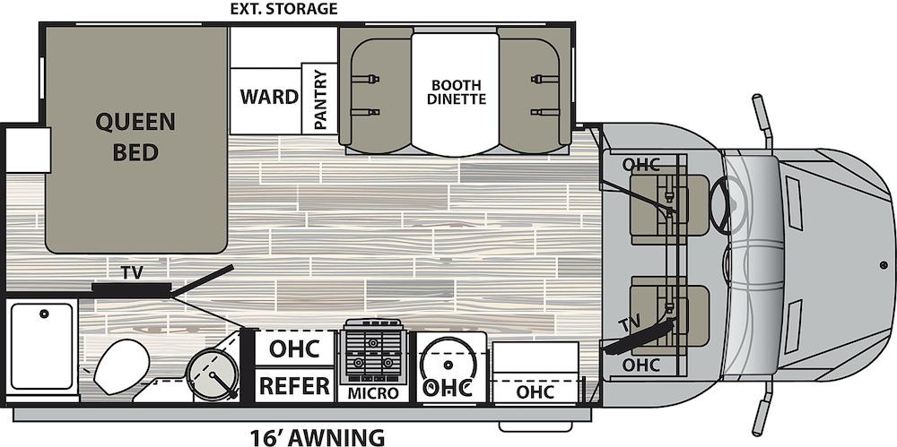 Floor plan of the Dynamax Isata 3 24FW Class C motorhome.